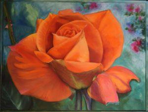 Orange ros 80x60 Olja